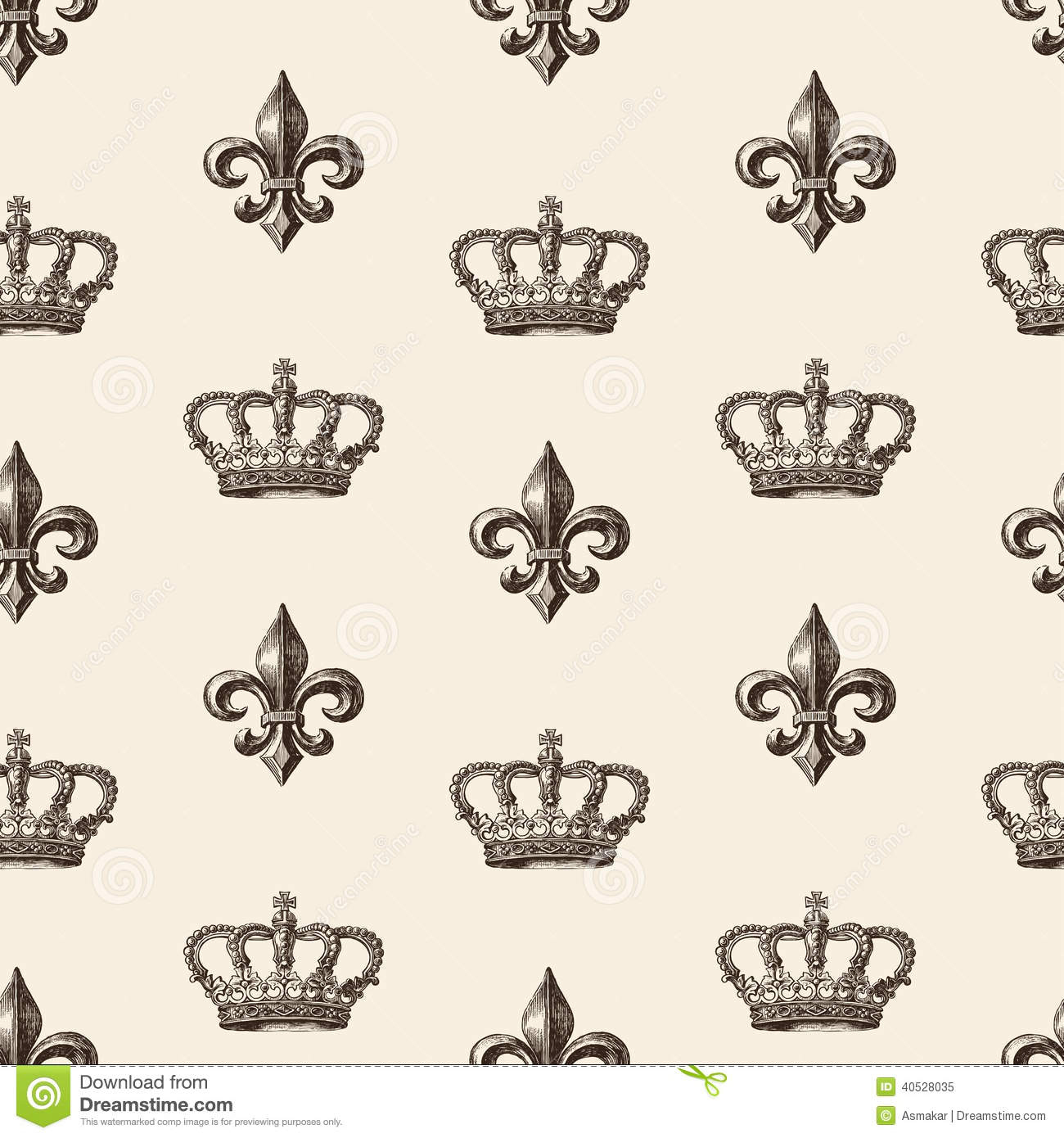 Pattern Of The Crown And French Lily Stock Vector - Image: 40528035