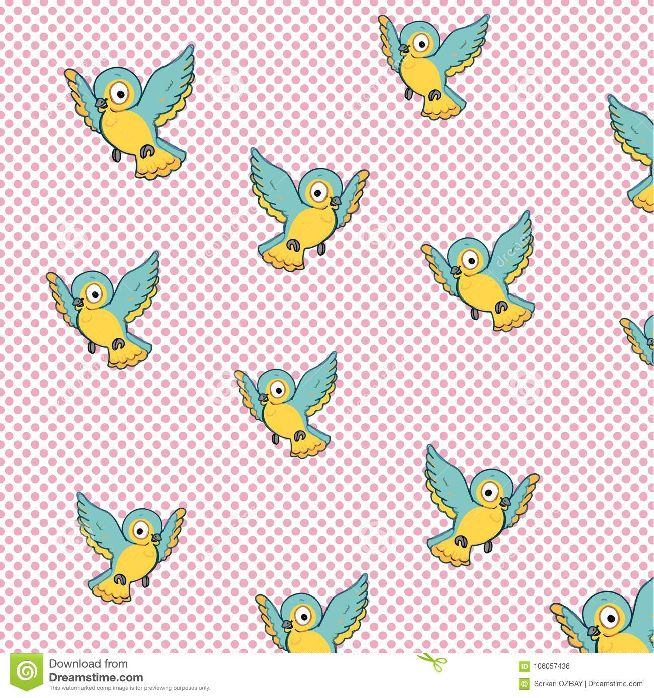 Pattern Cute Bird Flying Illustration Drawing Color Blue And