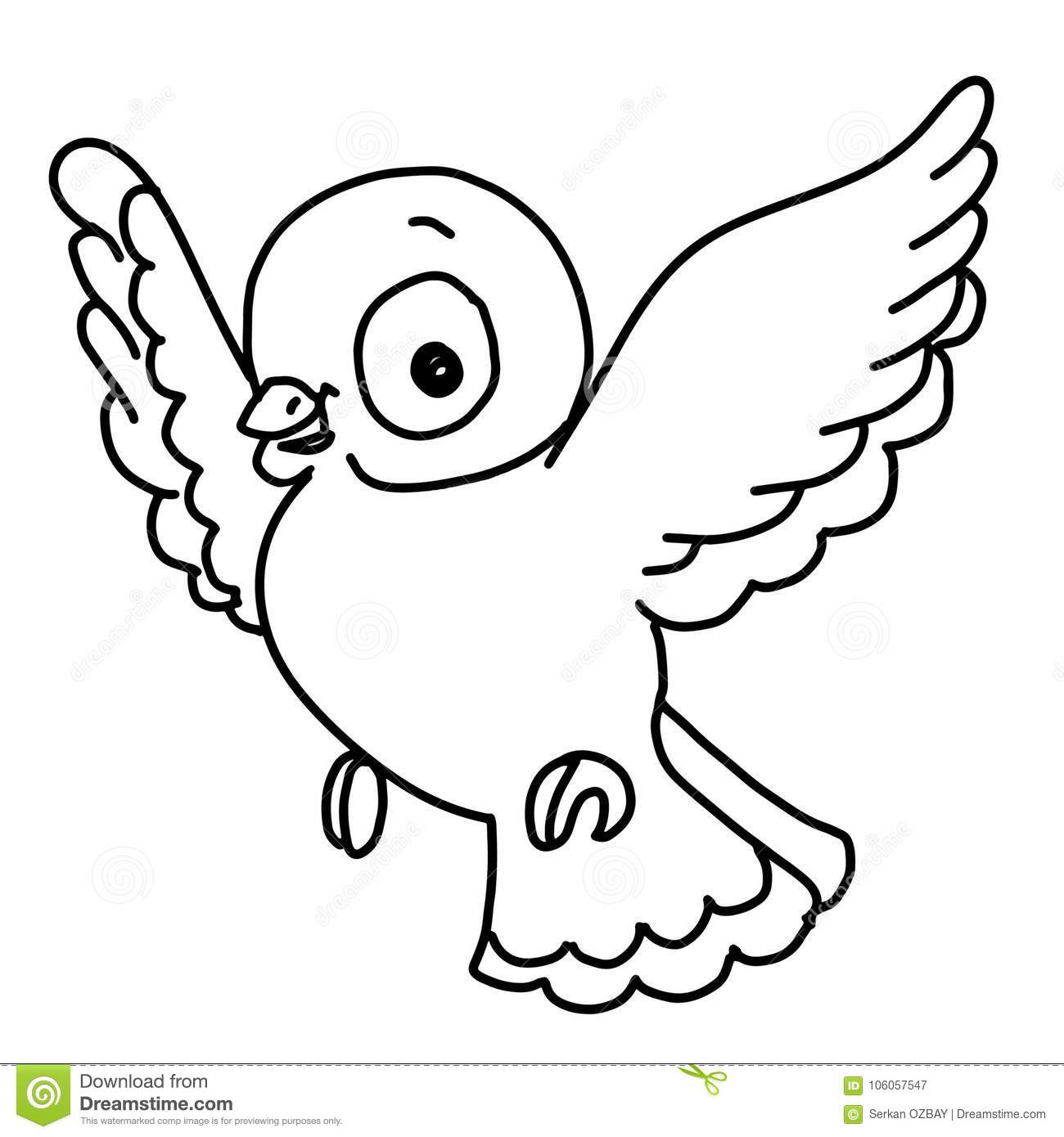 Pattern Cute Bird Flying Illustration Drawing Color And Yellow And