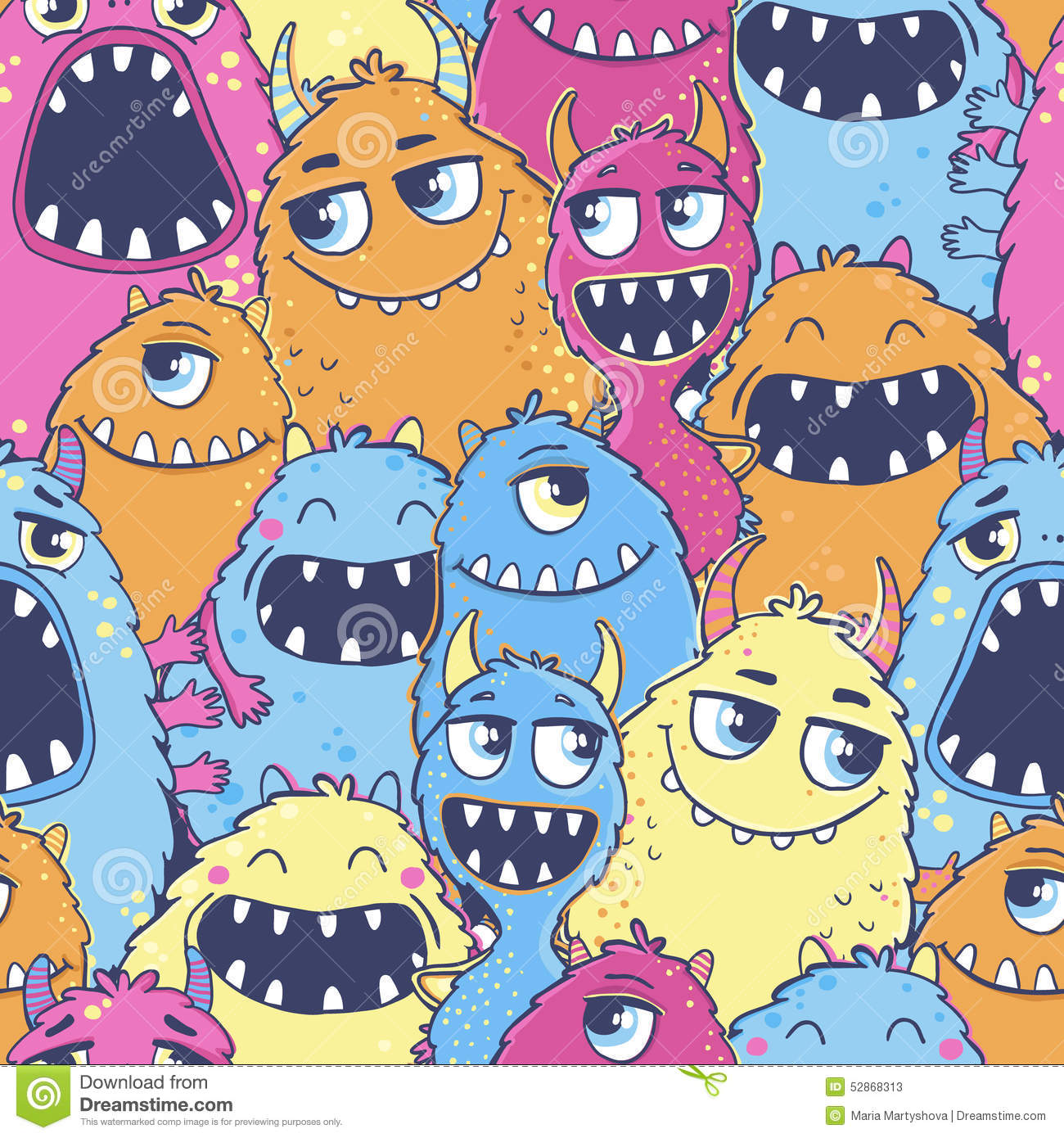 pattern with cute cartoon monsters stock vector image bears clip art and images bear clipart pinterest