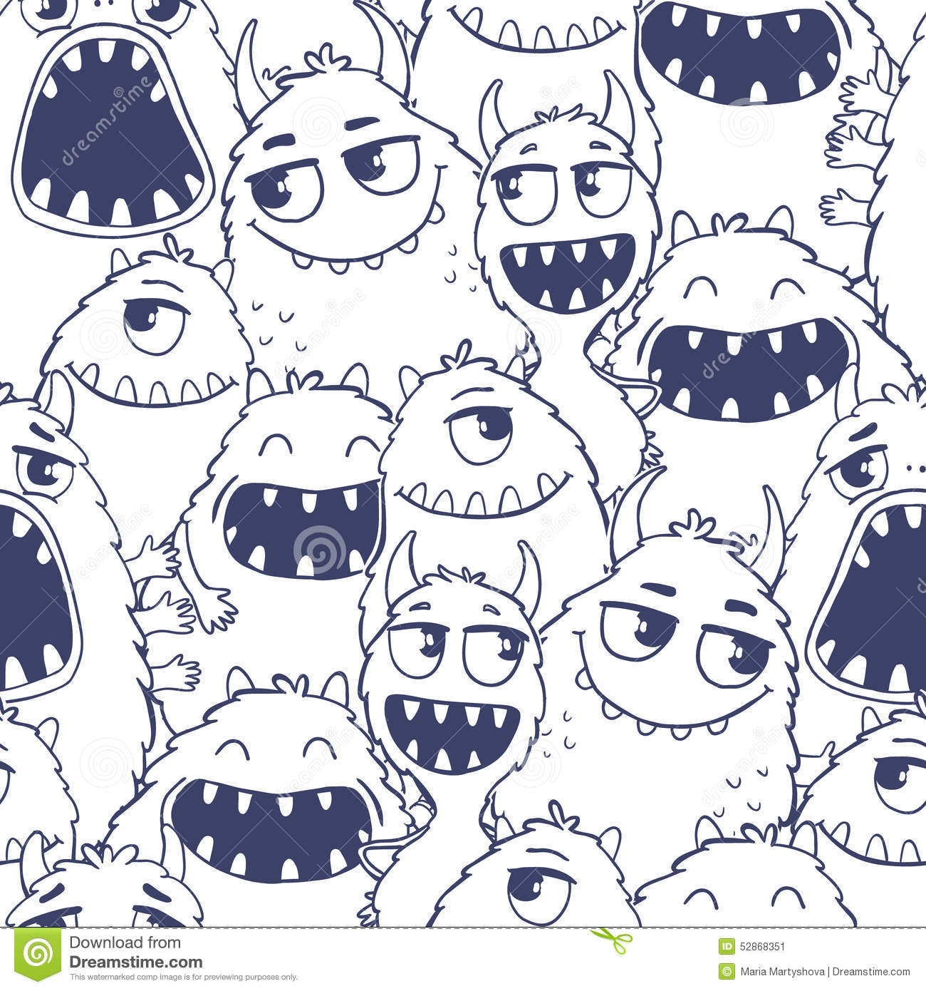 Pattern with cute cartoon monsters stock vector image for Wallpaper home cartoon