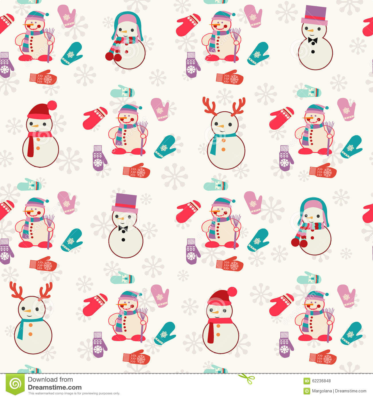 Vector Christmas Seamless Pattern with cute snowmen and mitten. Design ...
