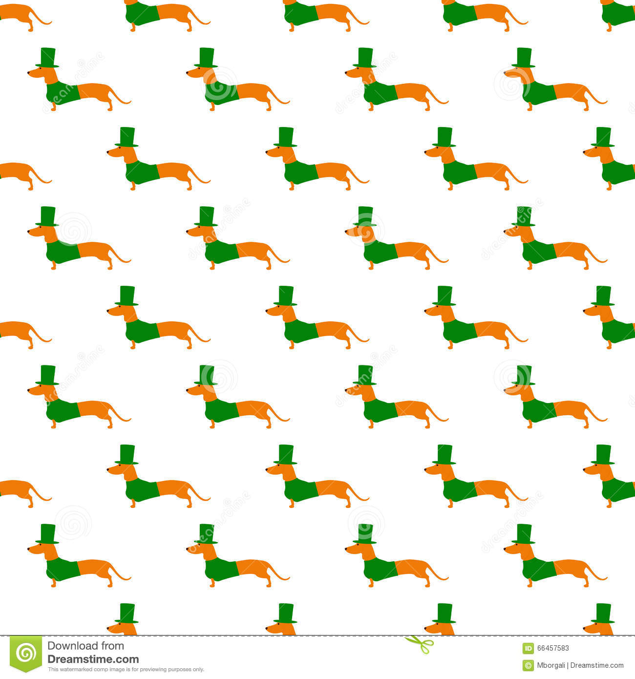 Pattern With Dachshund In St Patricks Day Suit Stock Illustration