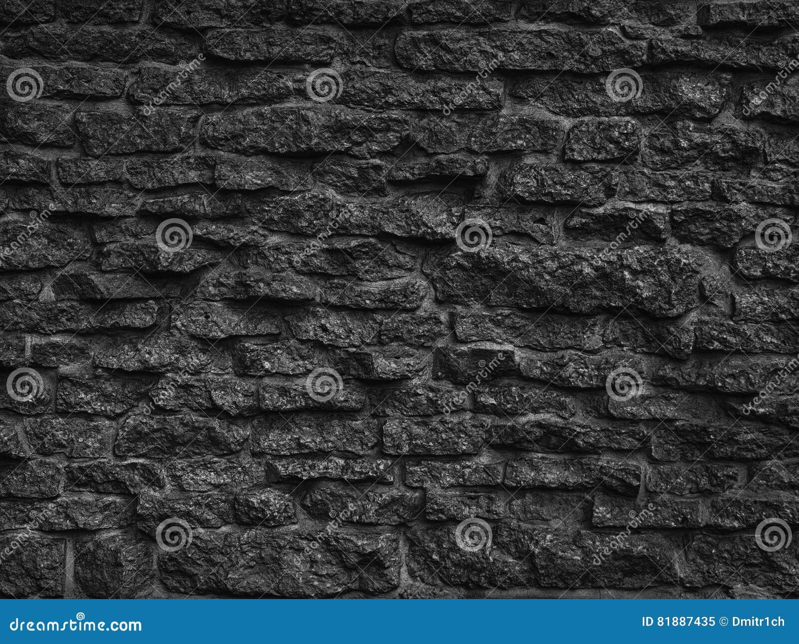 Pattern Of Decorative Black Slate Stone Wall Surface Stock