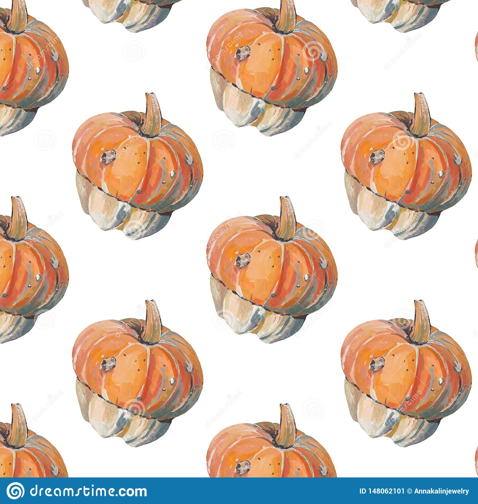 Pattern with decorative pumpkins on white background