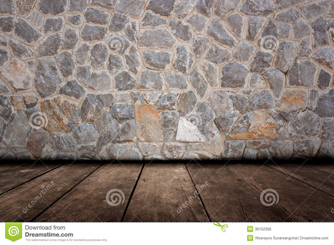 Pattern of decorative stone wall and wood flooring surface royalty free stock image image