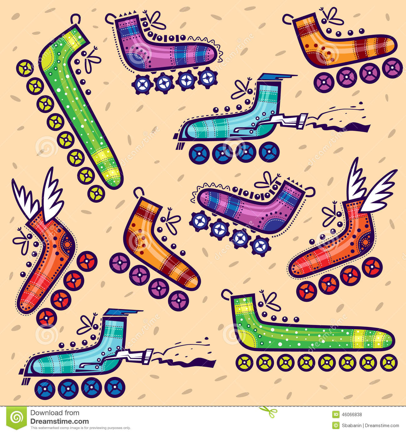 Roller skates for free - Pattern Different Types Of Roller Skates Royalty Free Stock Photos