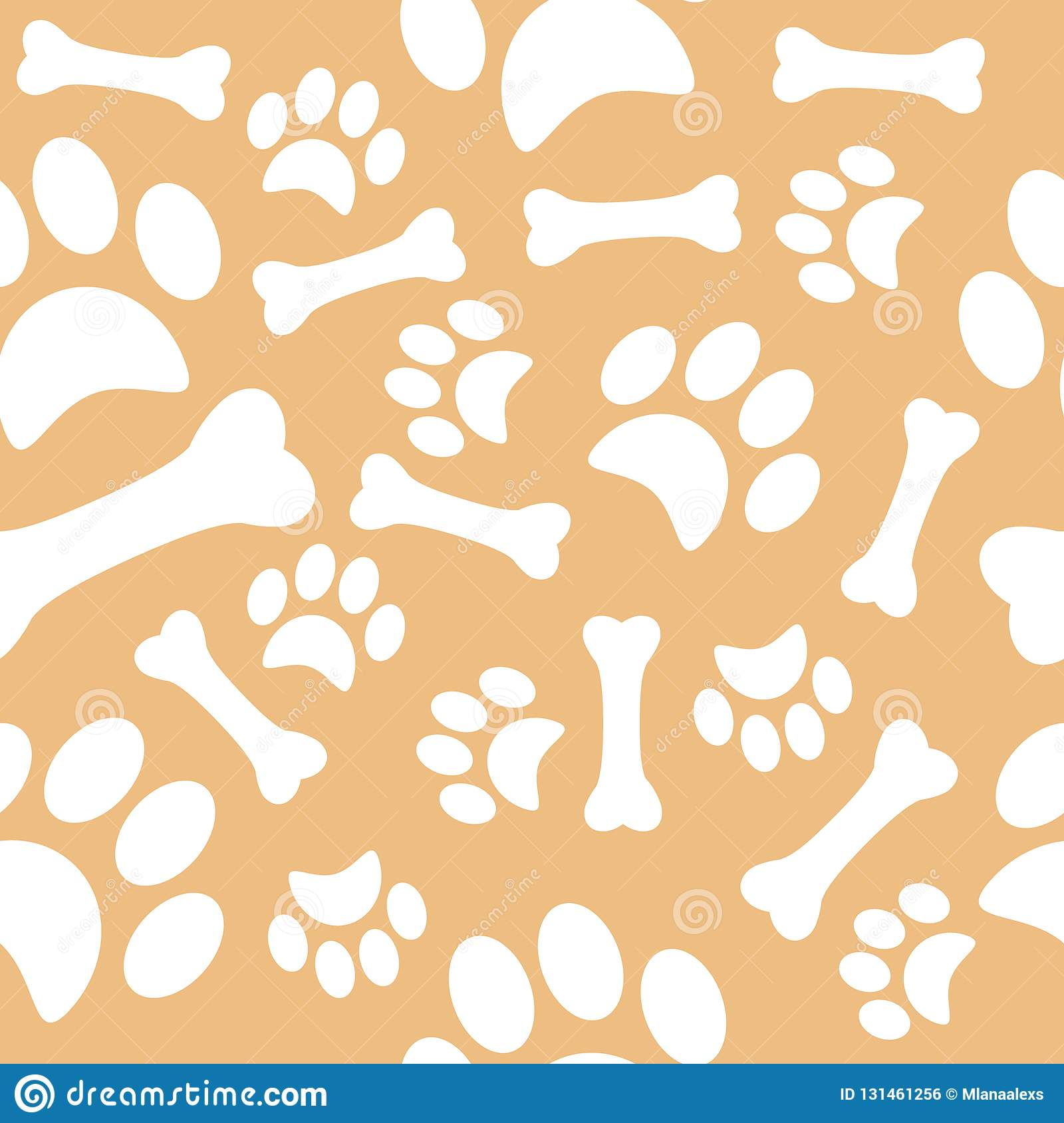 A pattern with dog footprints and a sweet bone. wrapping paper for shop zoo