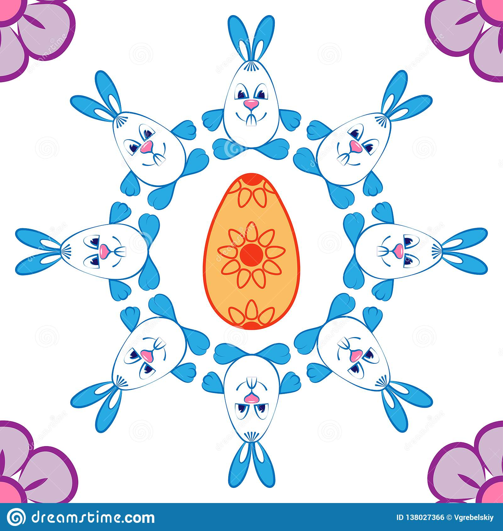Pattern Easter motives. Rabbits, flowers and eggs
