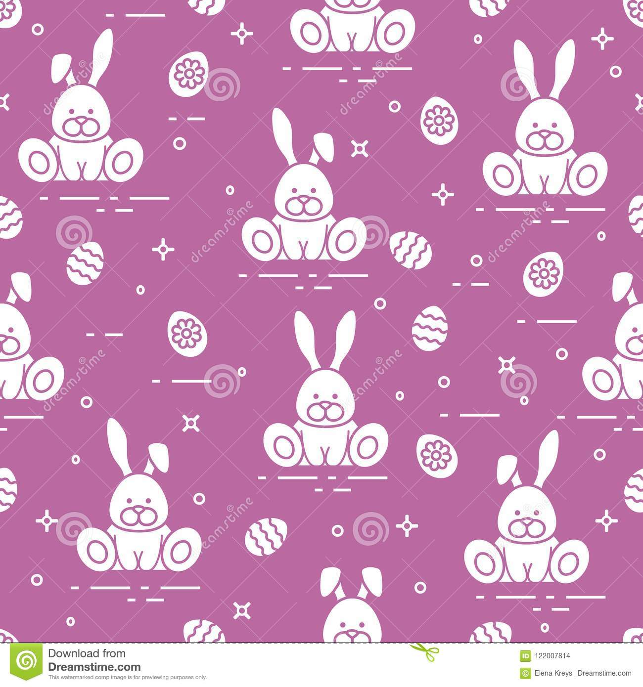 Pattern With Easter Rabbits Decorated Eggs Stock Vector