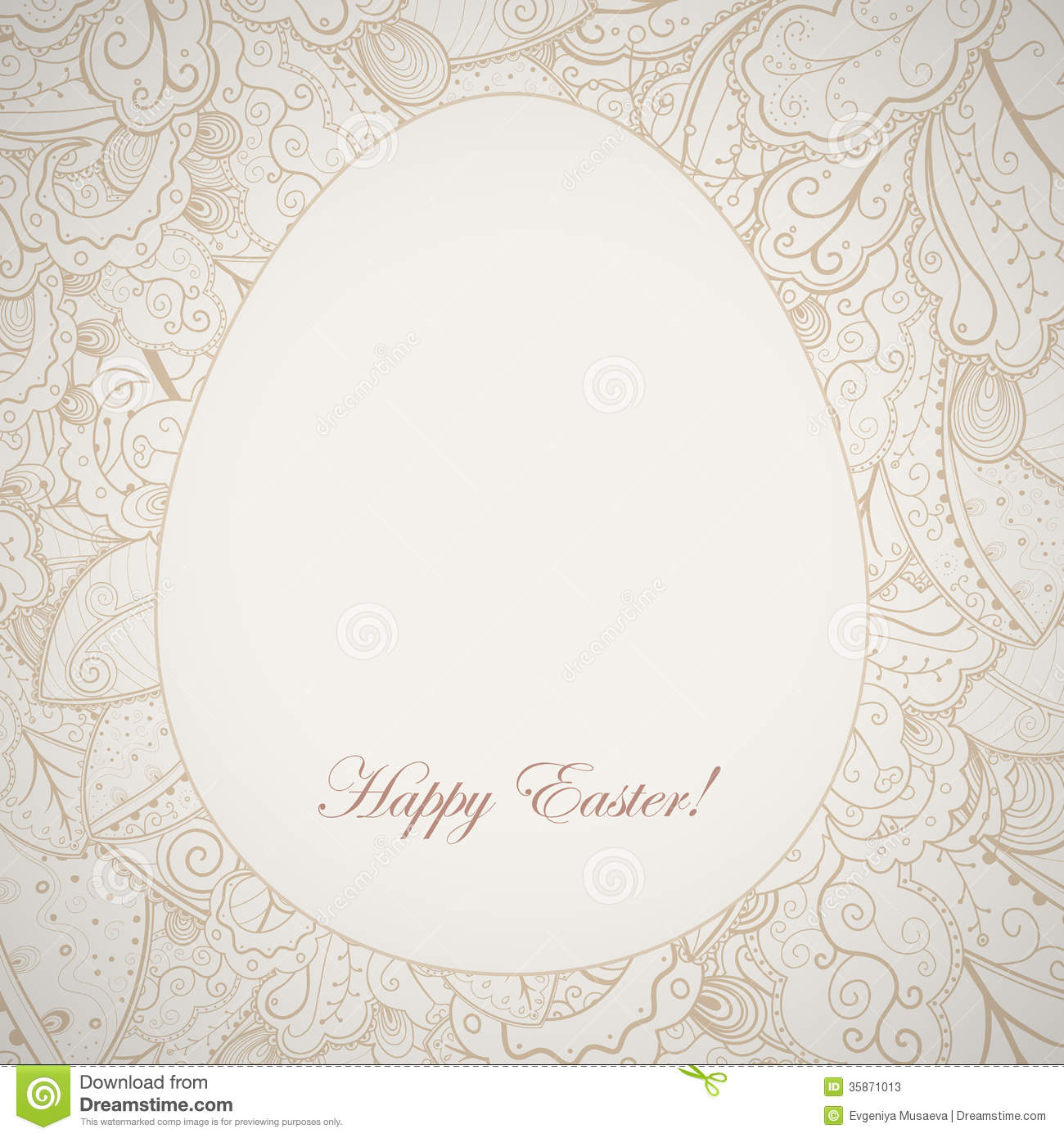 Pattern Elegant Easter Frame With Egg And Rabbit Stock Vector