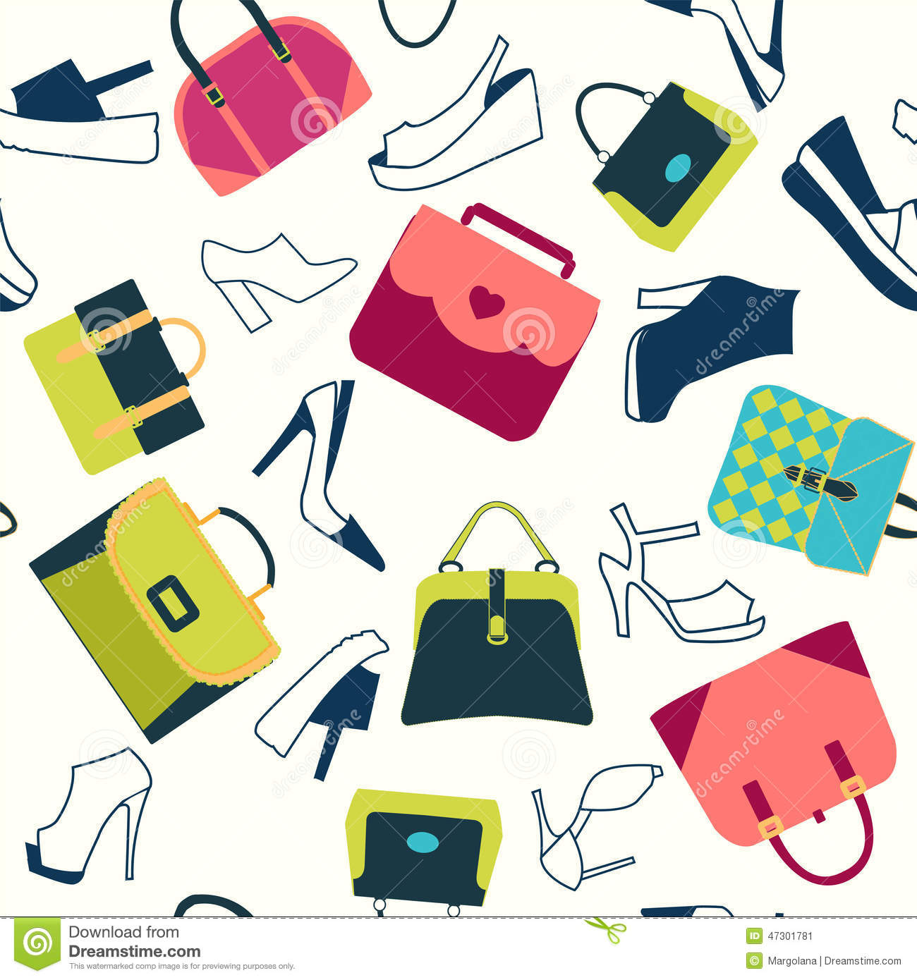 a88f5895f8 Colorful Background of fashion bags and women shoes in Flat design -  Illustration