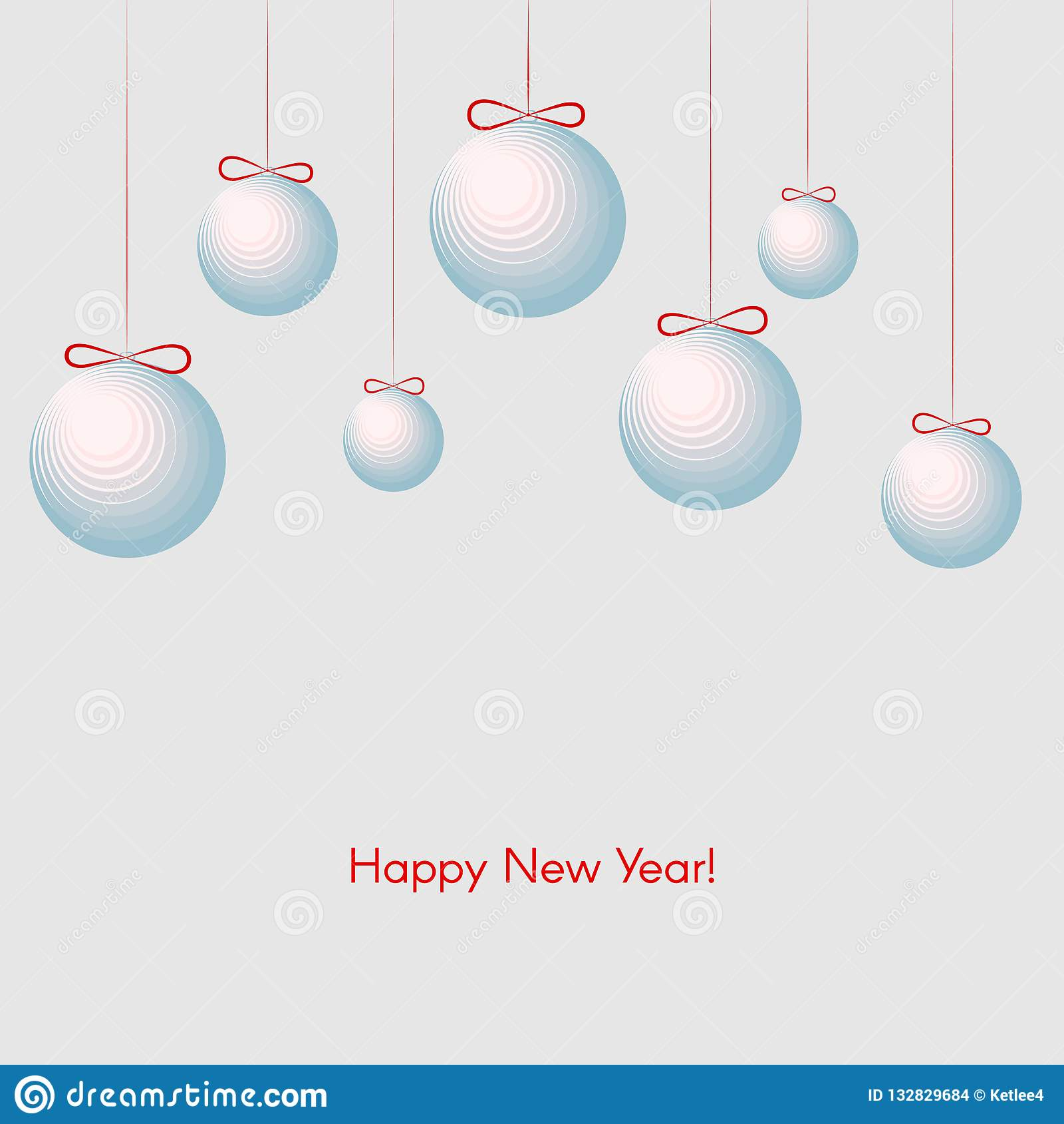 Pattern with festive balls with text Happy New Year Winter background for New Year and Christmas