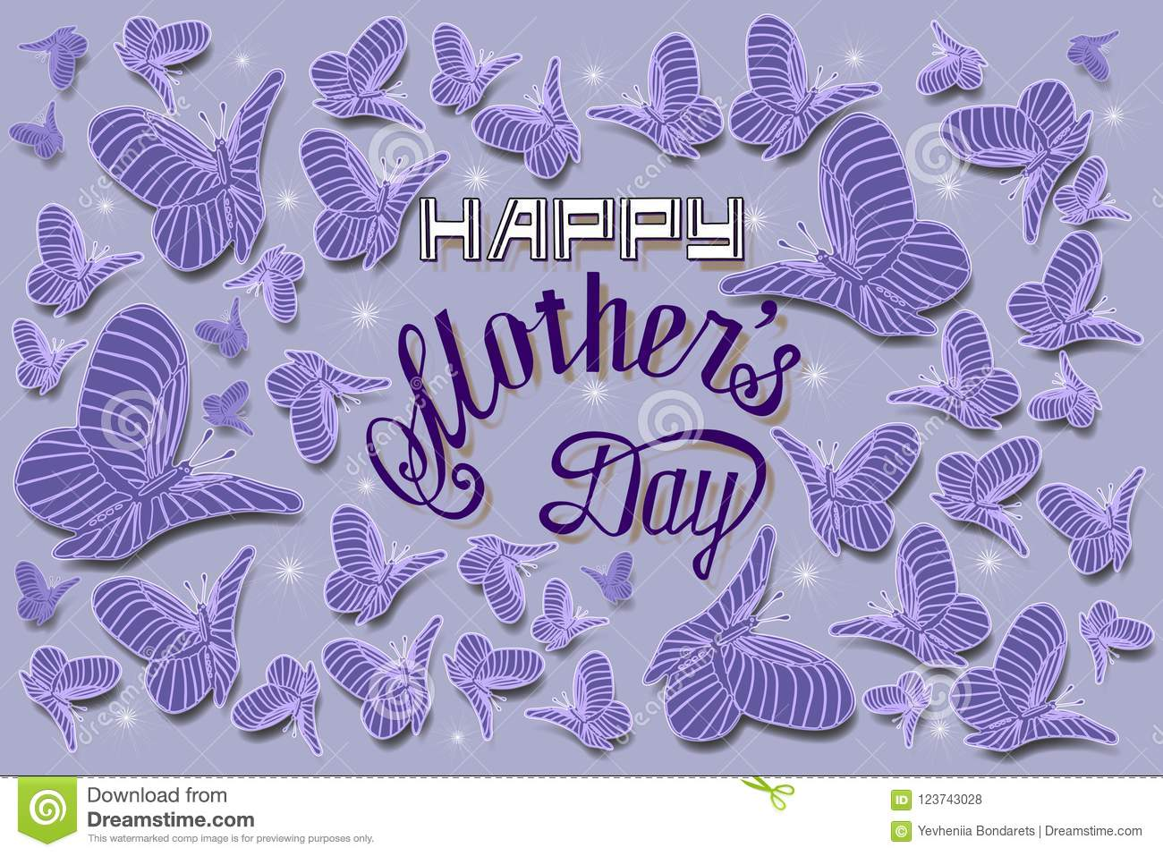 Happy mothers day hand lettering card illustration