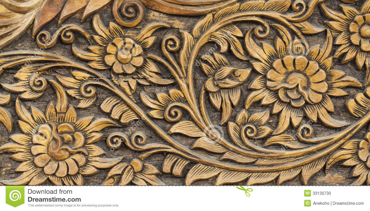 Pattern of flower carved stock photo image