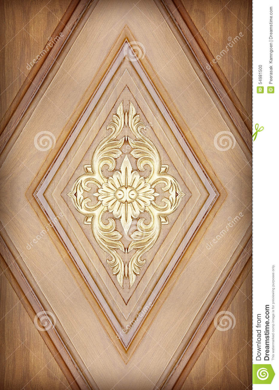 Pattern of flower carved on wood