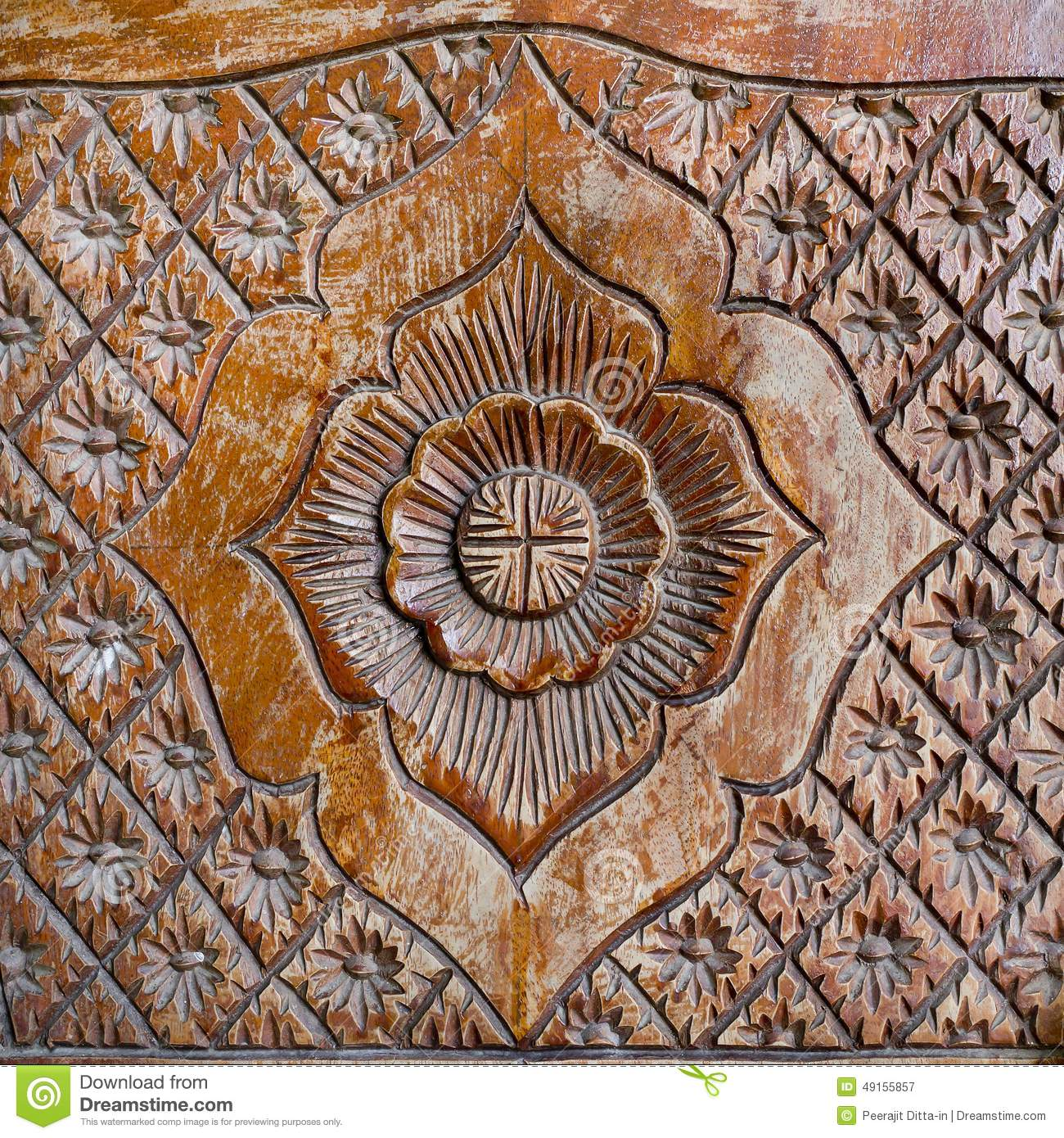 Download Pattern Of Flower Carved On Wood Background Stock Image
