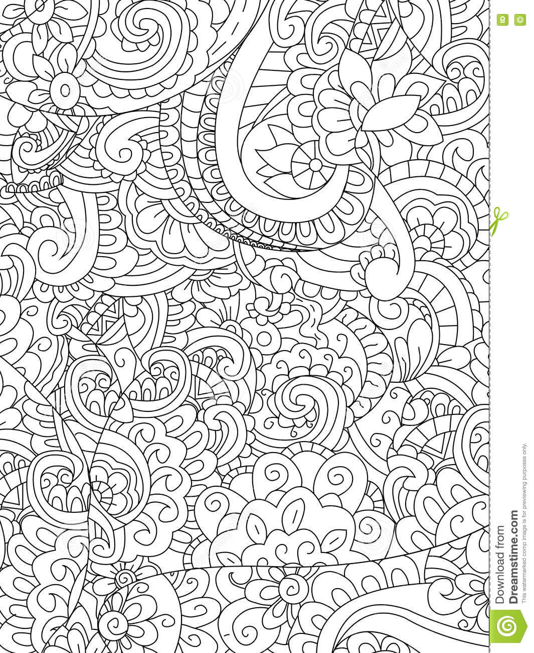 Pattern Flower Coloring Vector For Adults Stock Vector