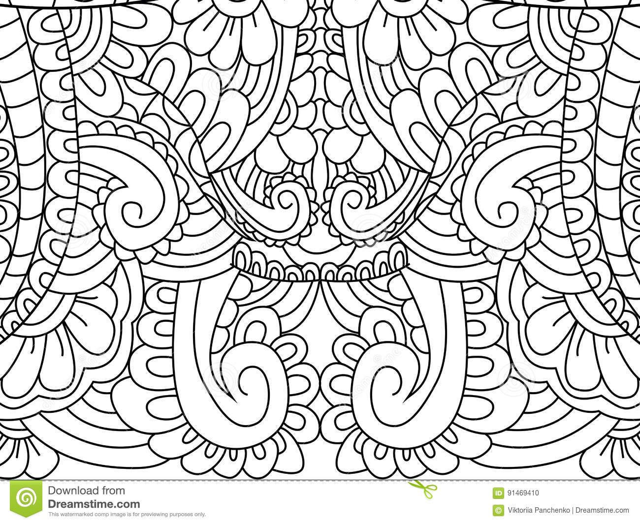 Pattern Flower Coloring Vector For Adults Vector