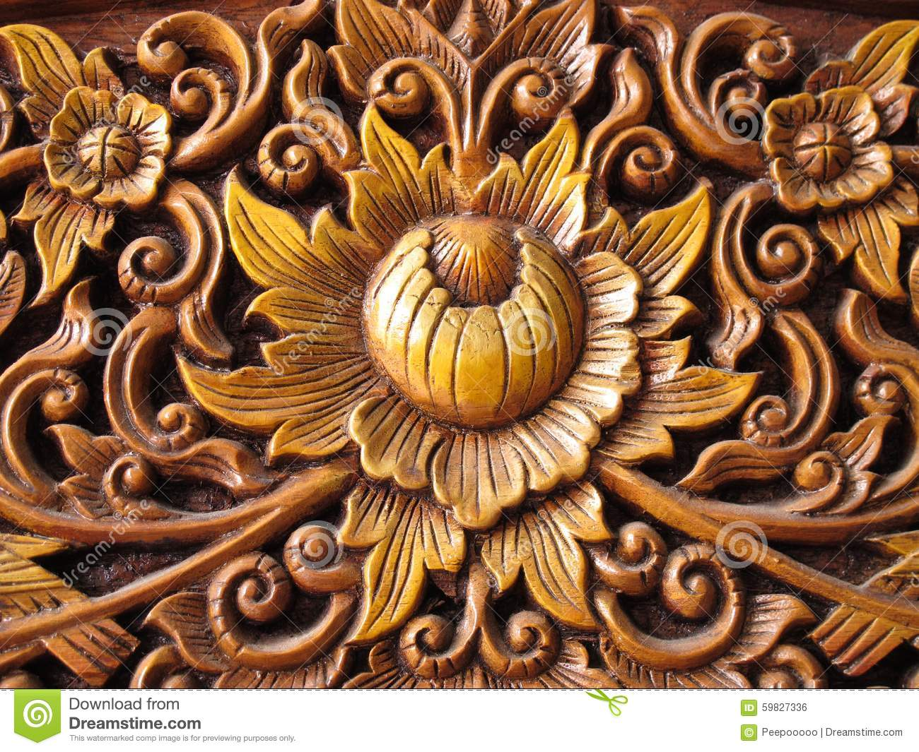 Pattern Of Flower Wood Carved Stock Photo