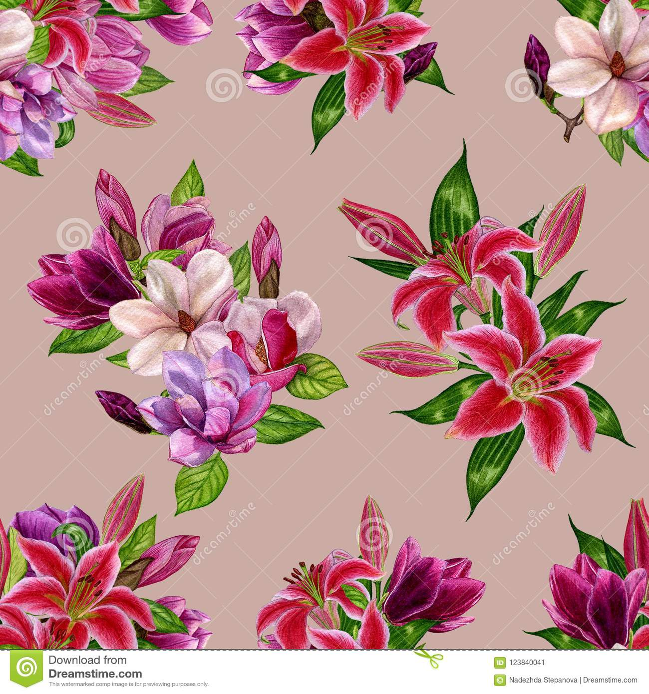 Pattern With Flowers Of Magnolia And Lilies On A Colored Background