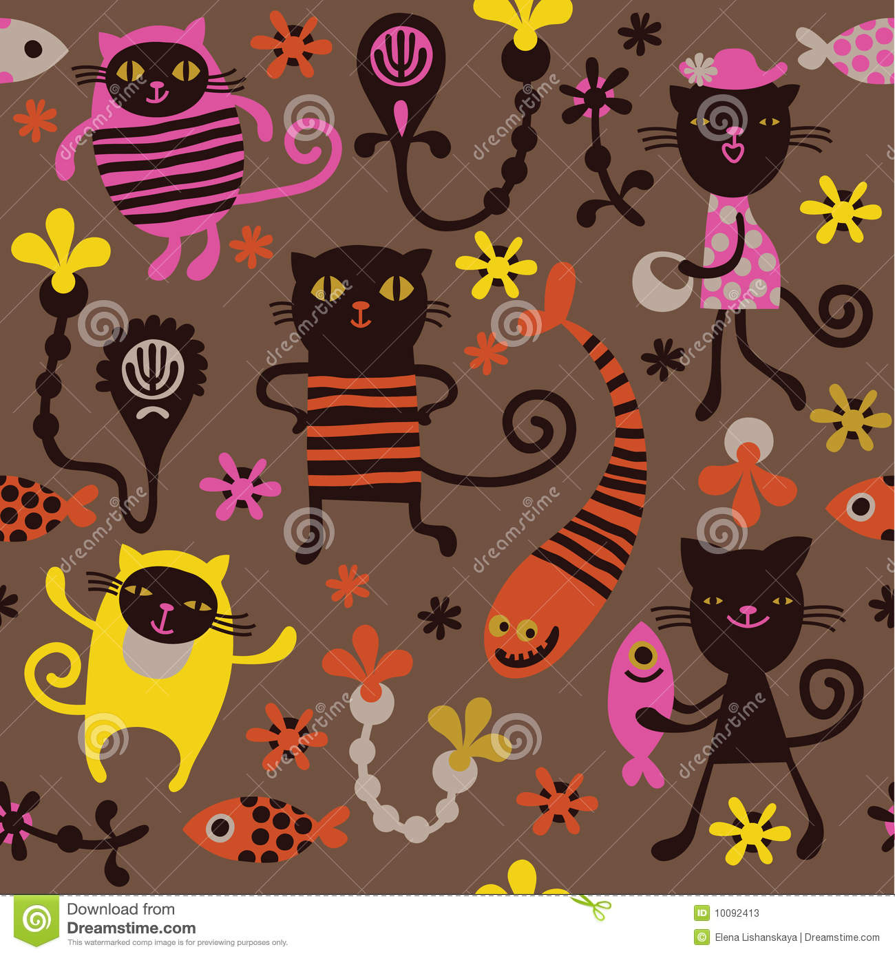 Pattern with fun cats