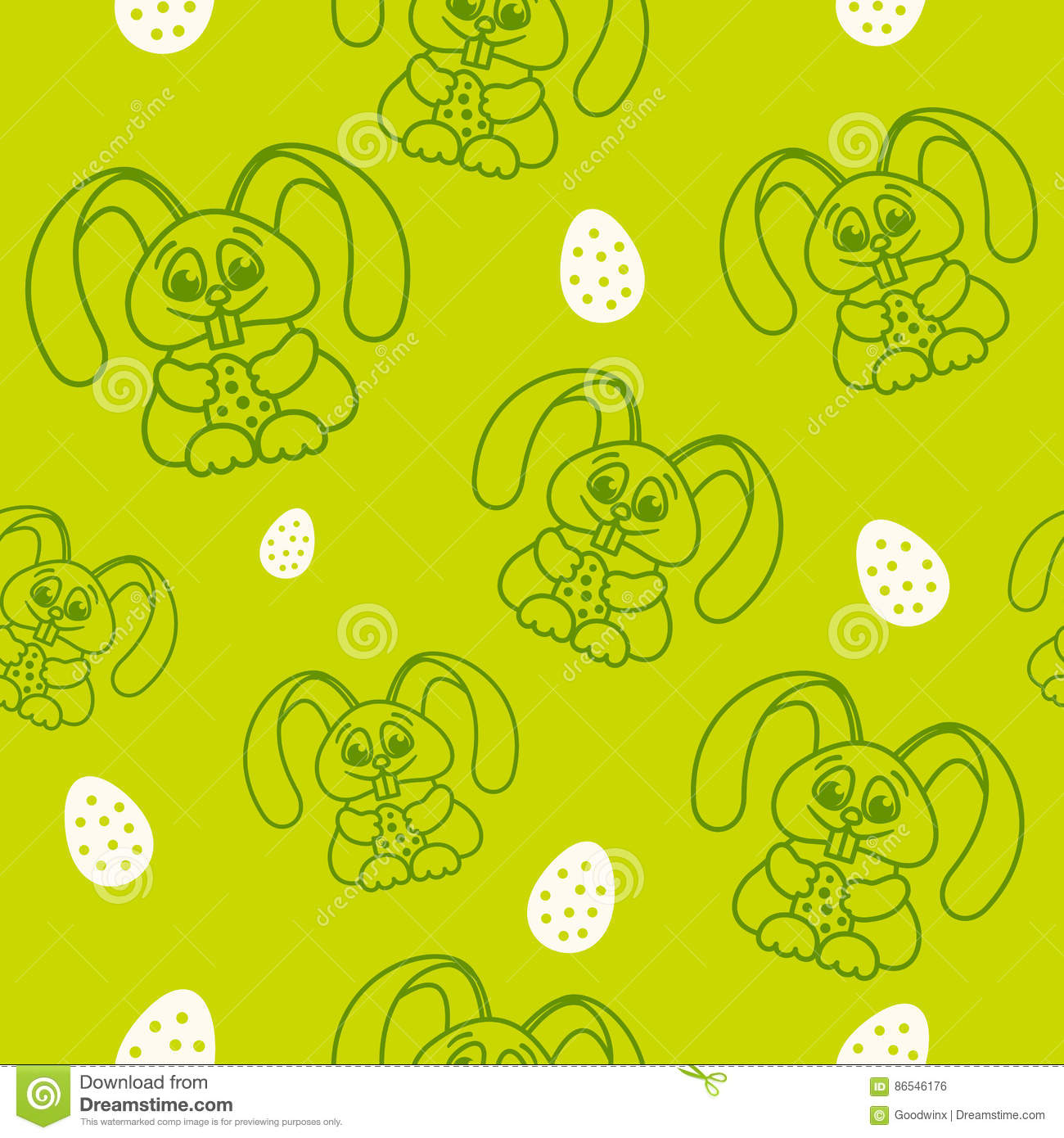 Pattern fun easter bunny with easter eggs seamless texture green