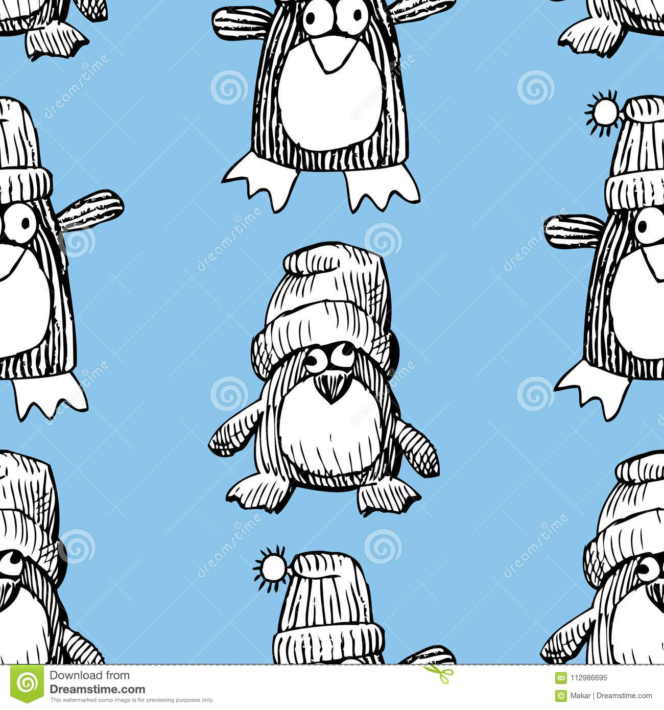 Pattern of the funny cartoon penguins