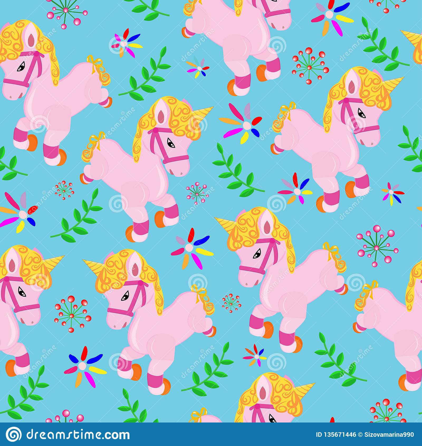 pattern with funny unicorns