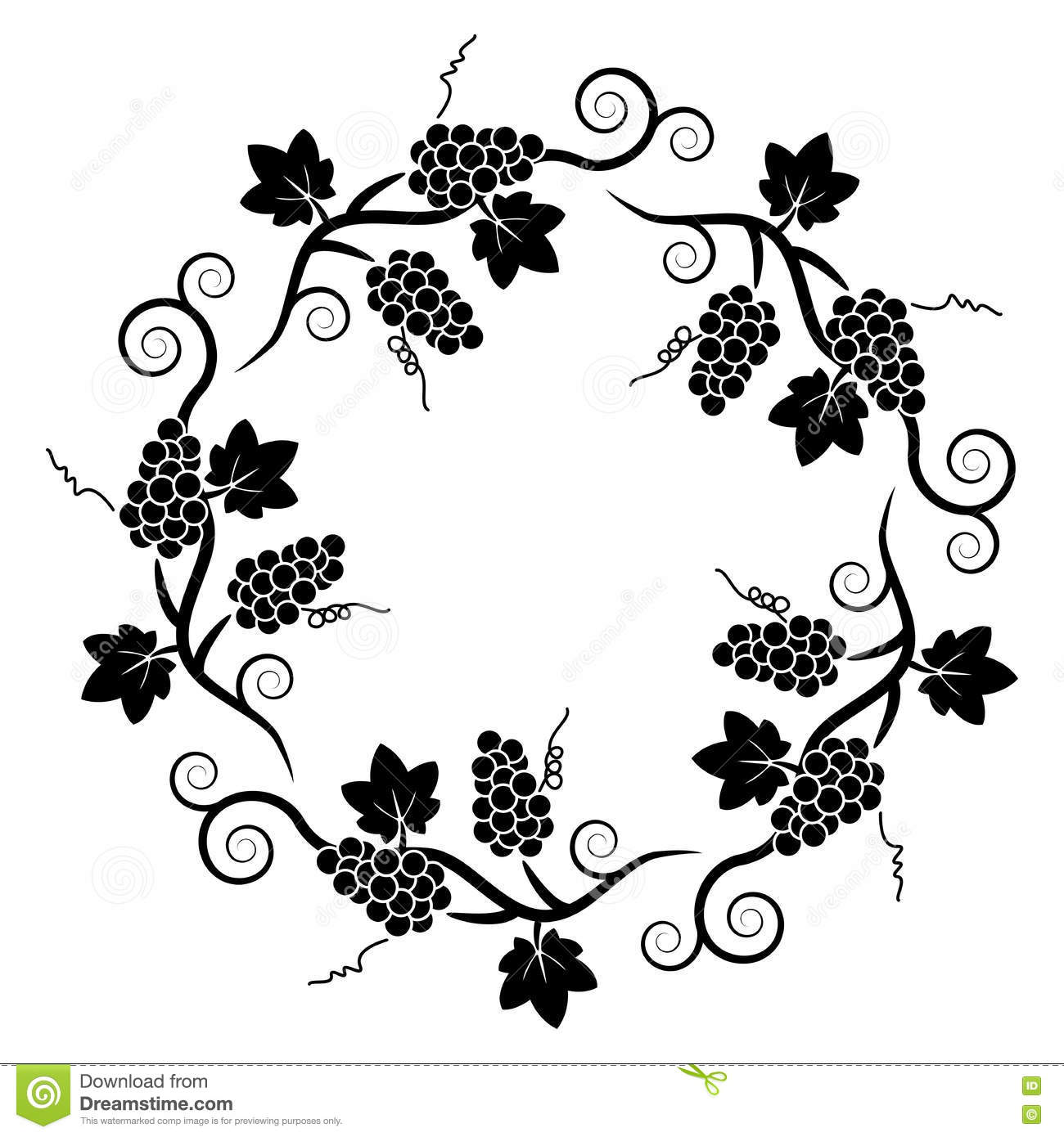 Black Flower And Vines Pattern Royalty Free Stock Image: Pattern Of Grape Vine, Vector Stock Vector