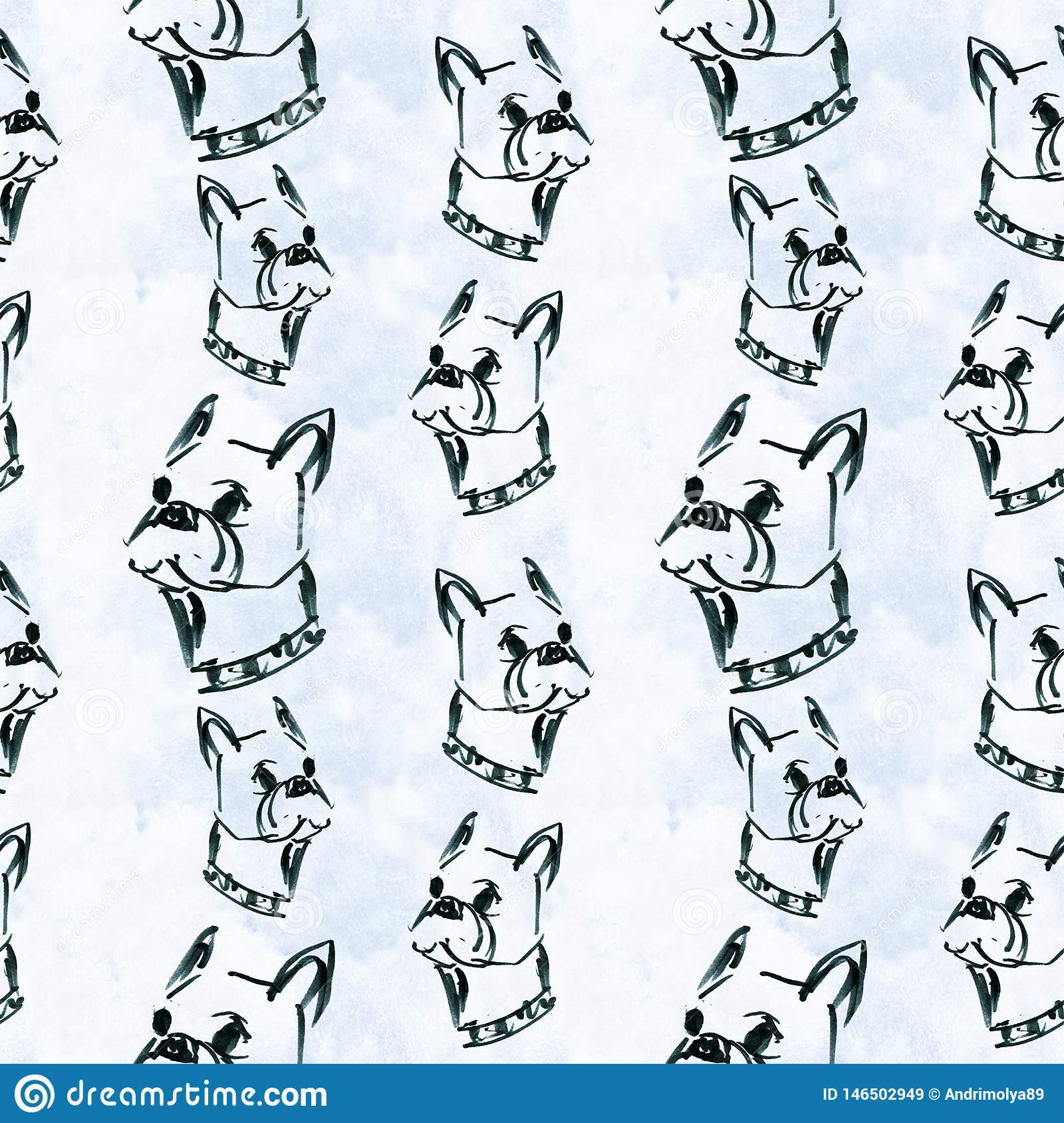 Pattern with graphic French bulldog