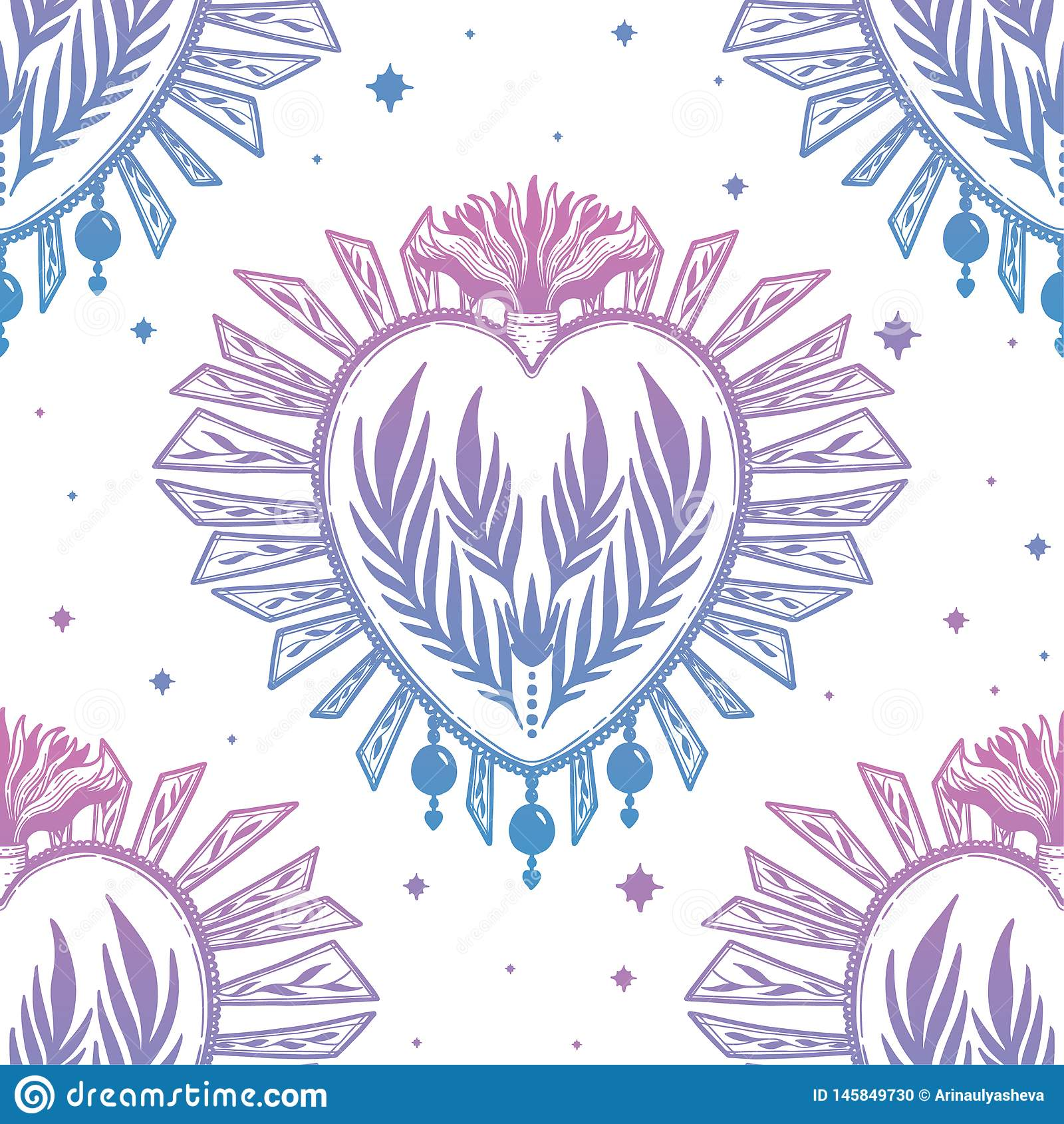 Pattern graphic illustration Beautiful holy heart with mystic and occult symbols. Esoteric boho style