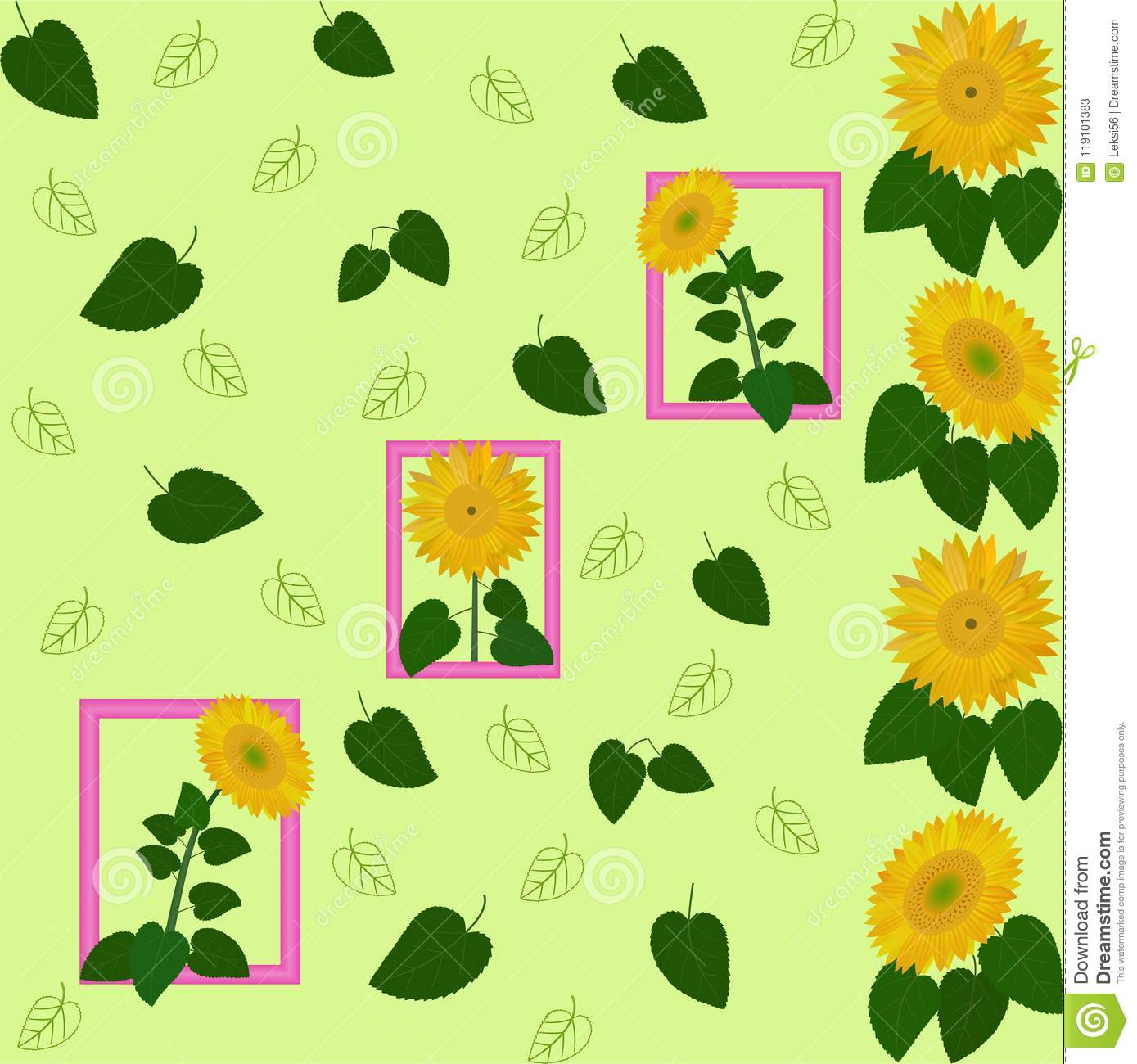 pattern green leaf sunflower yellow abstraction flora wallpaper