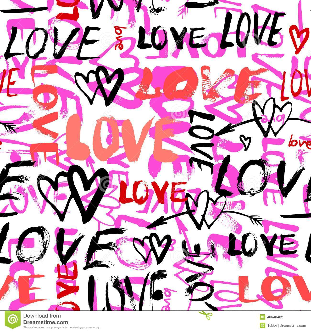 Pattern With Hand Painted Words Love Stock Vector Image