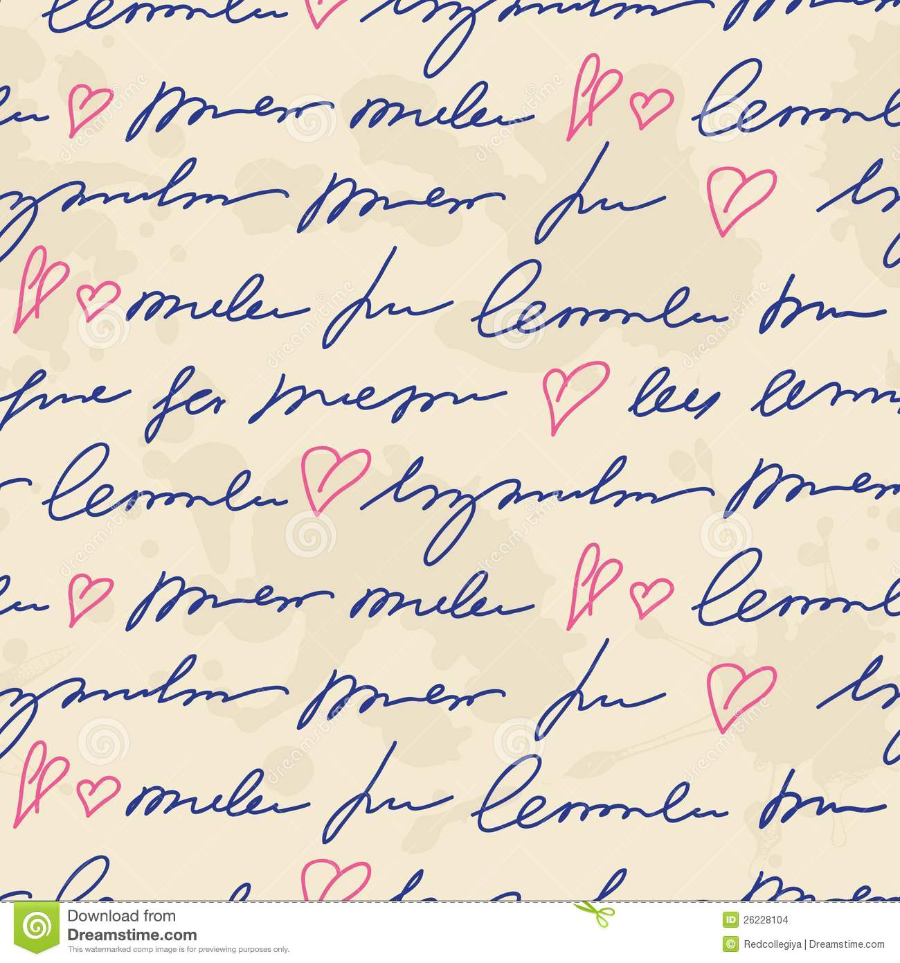 Pattern with hand writing elements