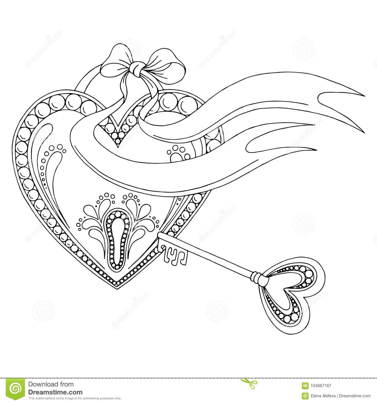 Pattern Heart Lock Key Doodle Black White Graphic Sketch Background