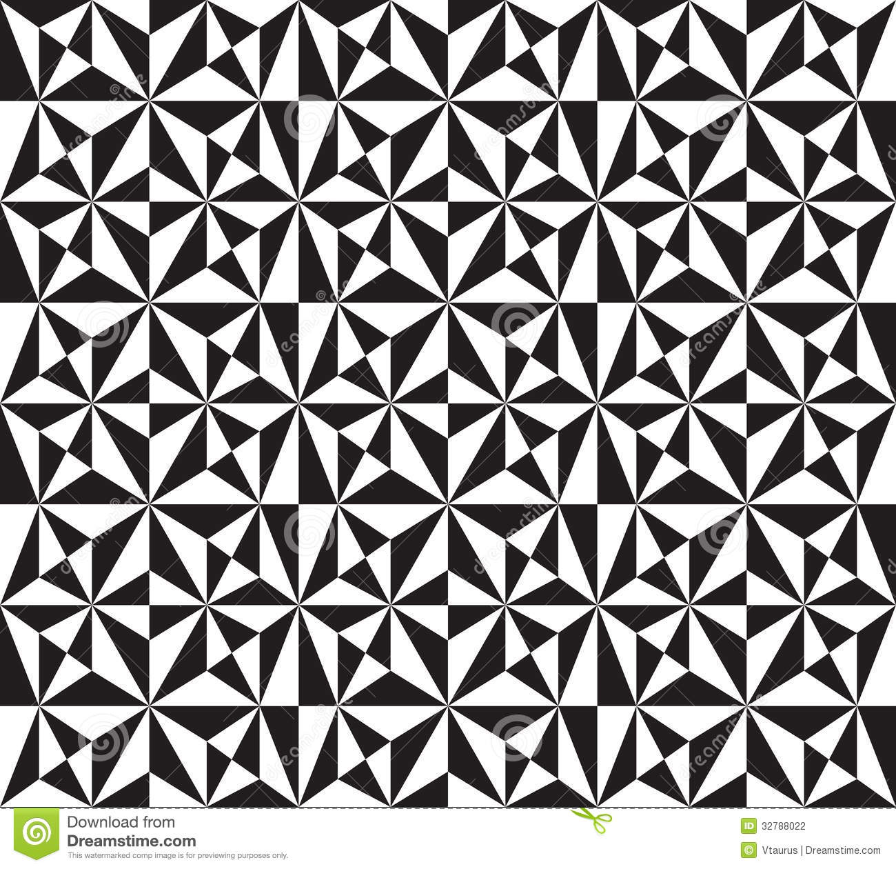 Vector Seamless Texture With Black And White Triangles Mosaic Endless