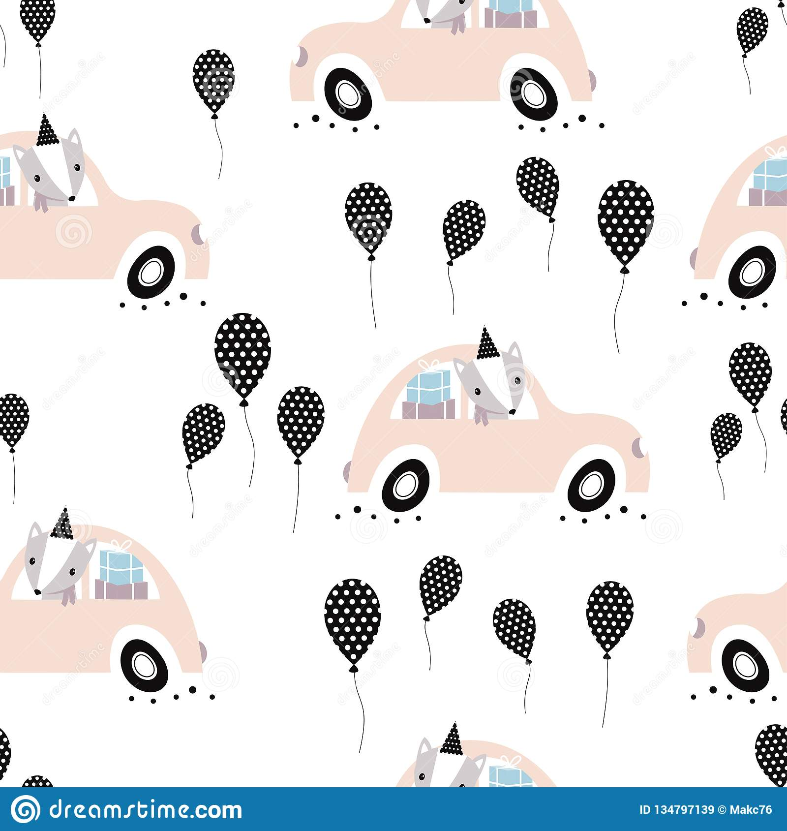 Pattern With Holiday Car Stock Vector Illustration Of Cute 134797139