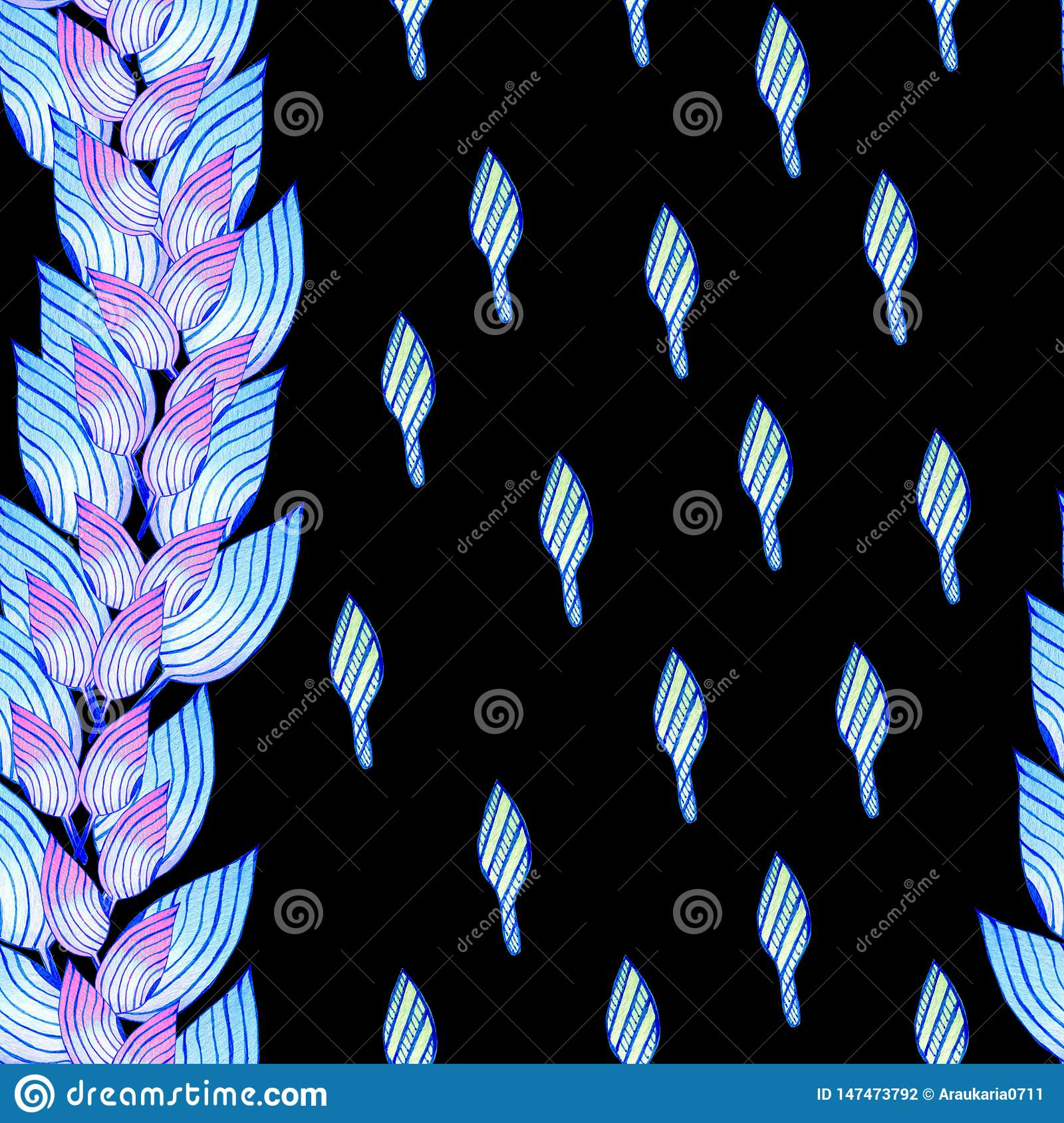Seamless pattern with blue leaves in african style.