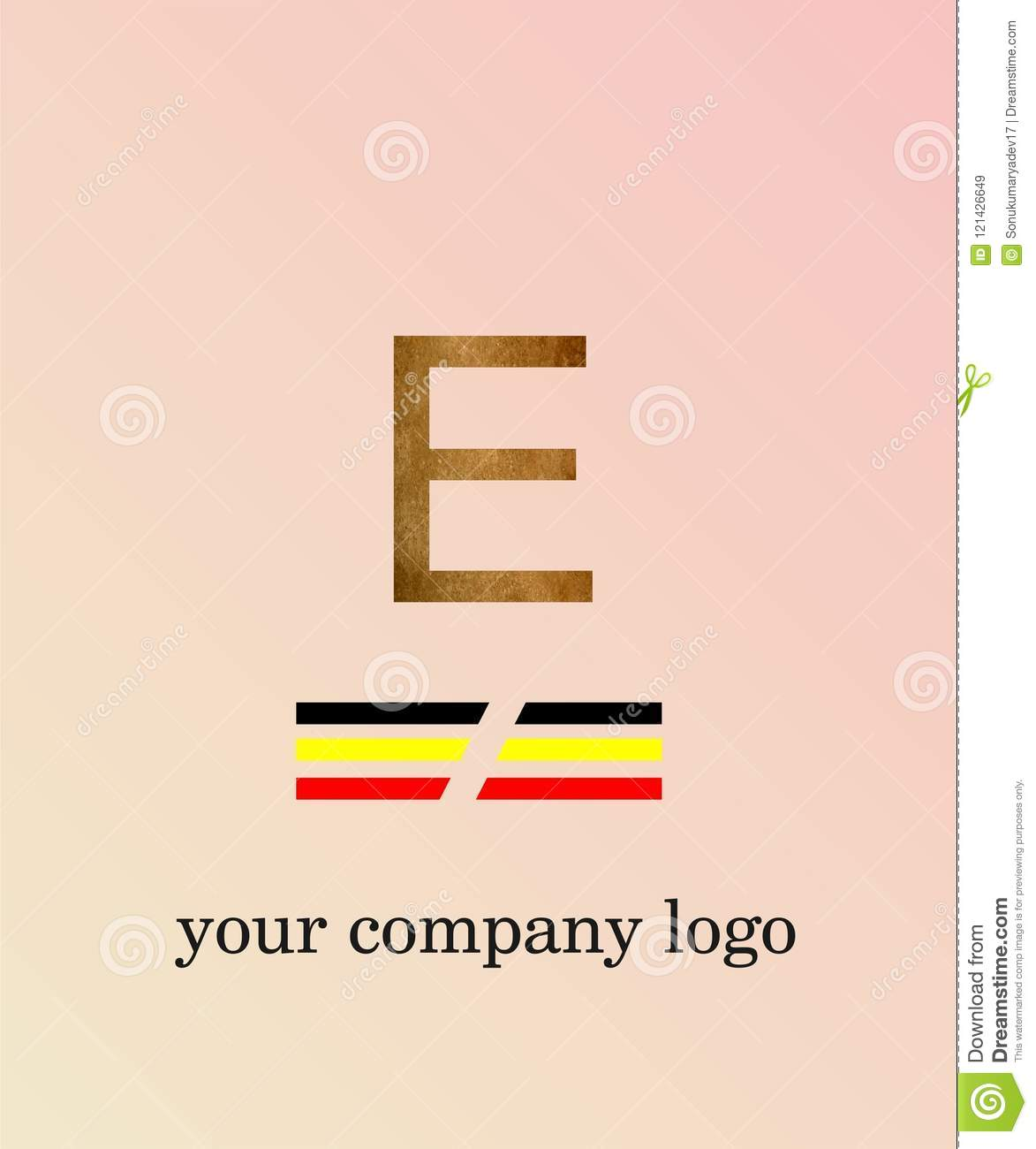 E Letter Logo Template You Company Logo And Light Pink Color ...