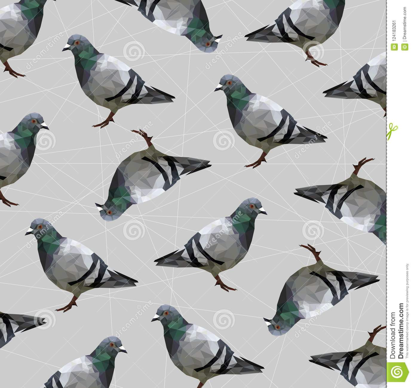 Pattern Of Low Poly Pigeon Bird On Gray Back Ground,animal