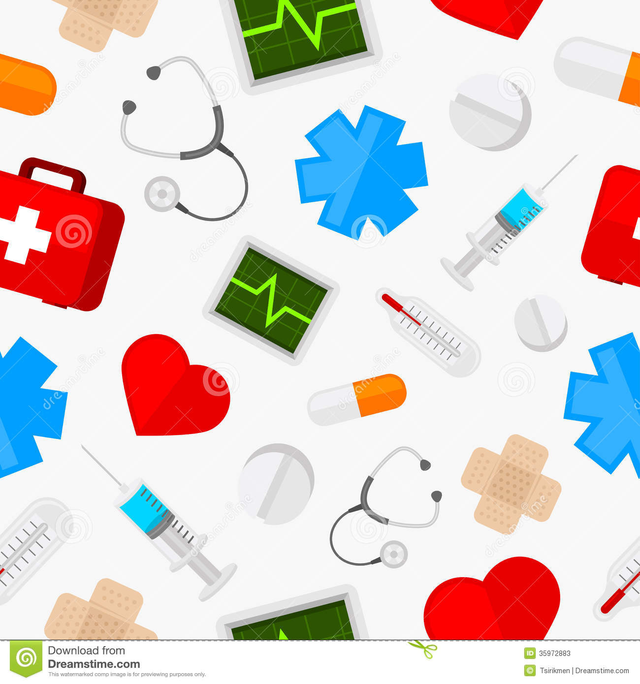 pattern medical icons set stock vector  image of seamless