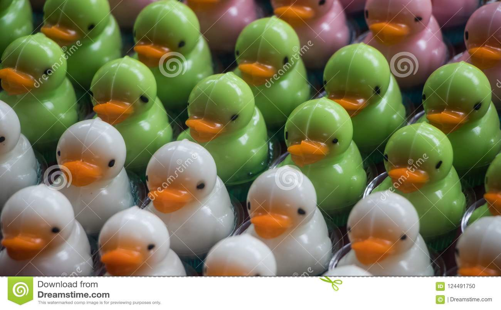 Miniature duck-shaped desserts
