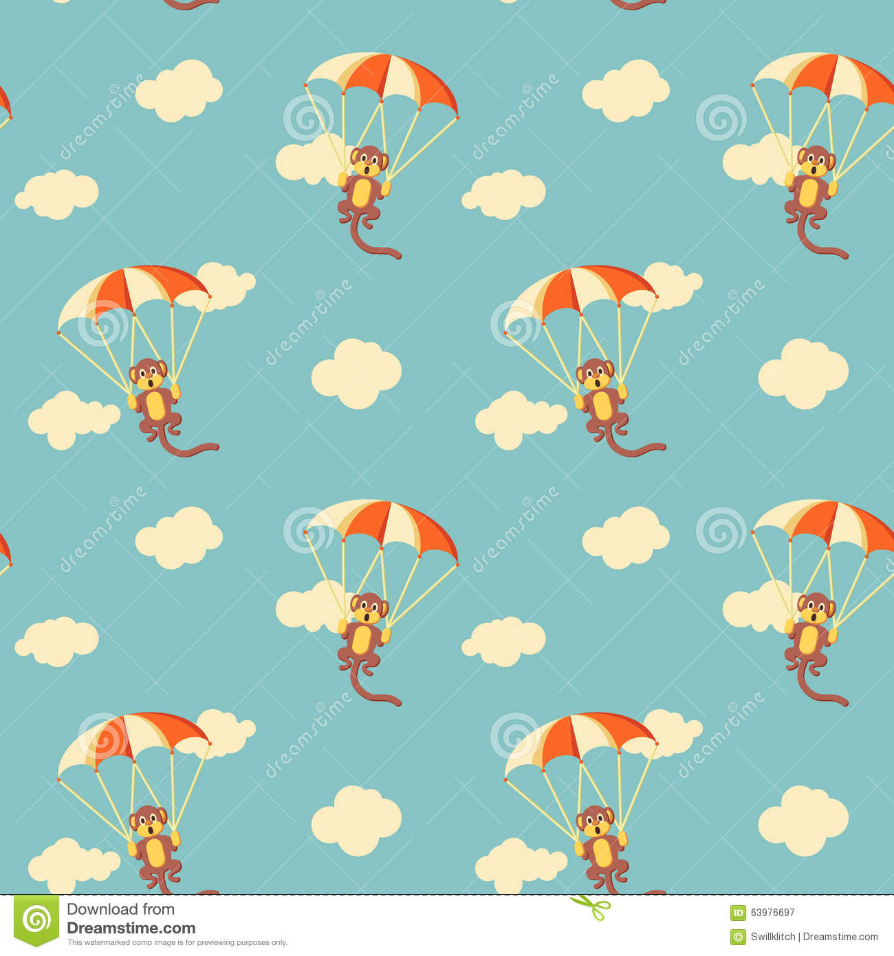 Pattern of monkeys with parachute