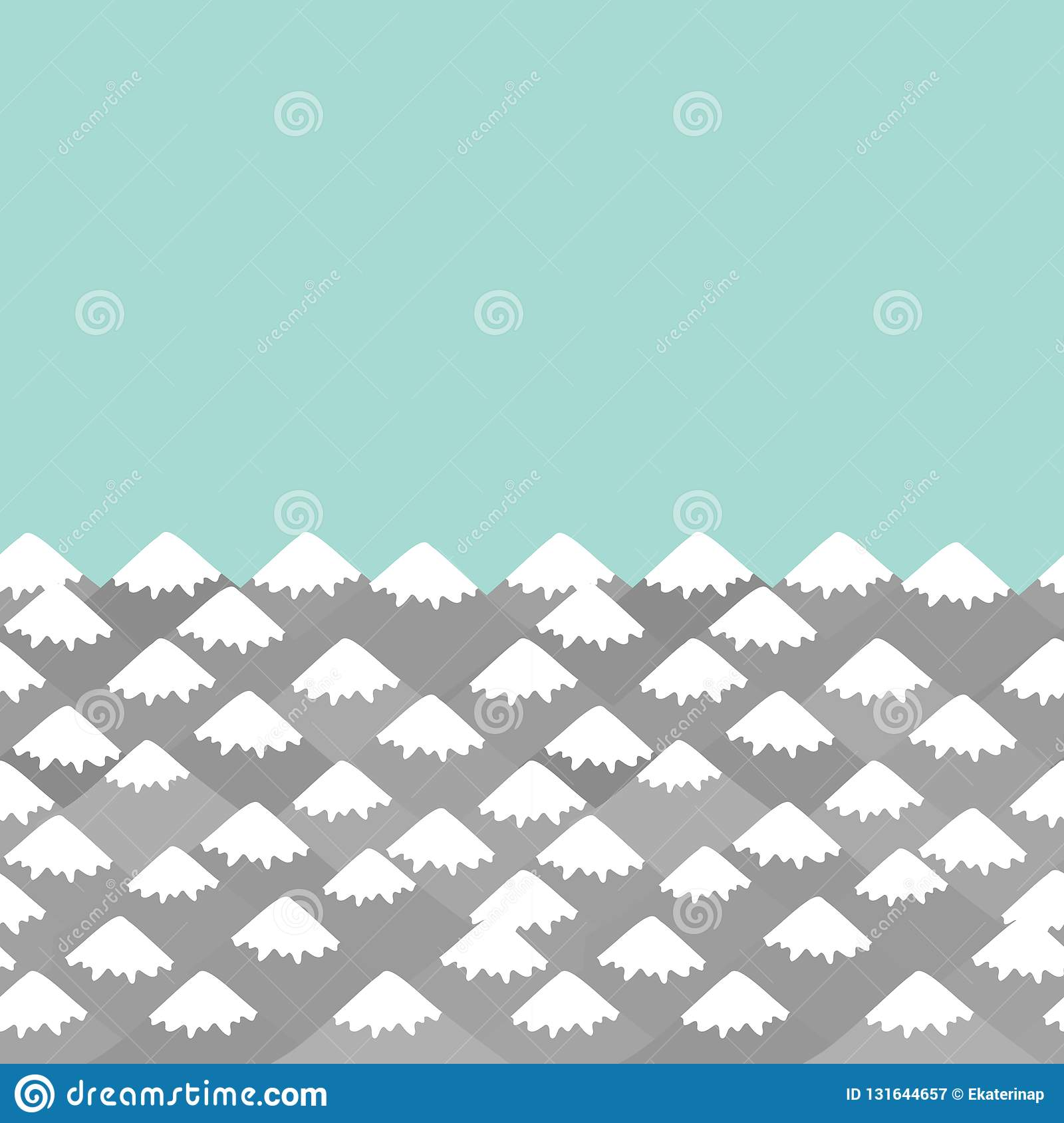 pattern Mount, card banner design Nature background with Mountain landscape. Gray, mint blue mountain with snow-capped peaks.
