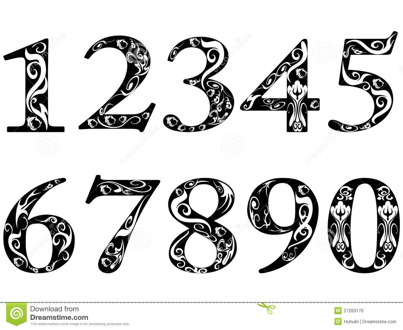 Vintage Number Fonts on Latest Different Writing Styles