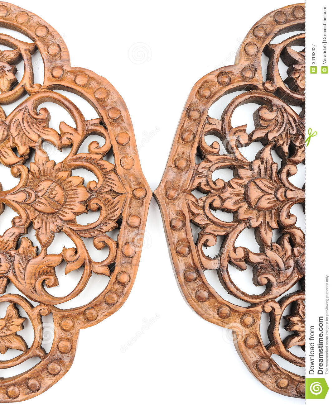 Pattern of old carved wood on white background stock image