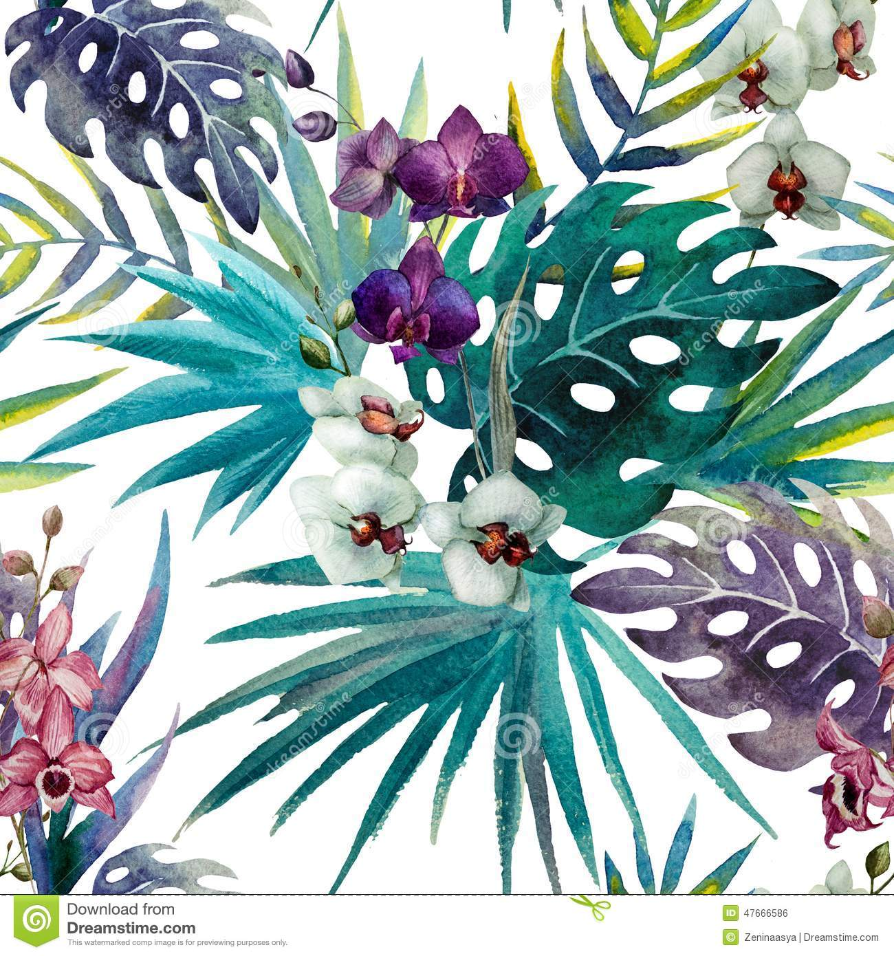 Garden floral seamless pattern on purple background watercolor vector - Pattern Orchid Hibiscus Leaves Watercolor Tropics Stock