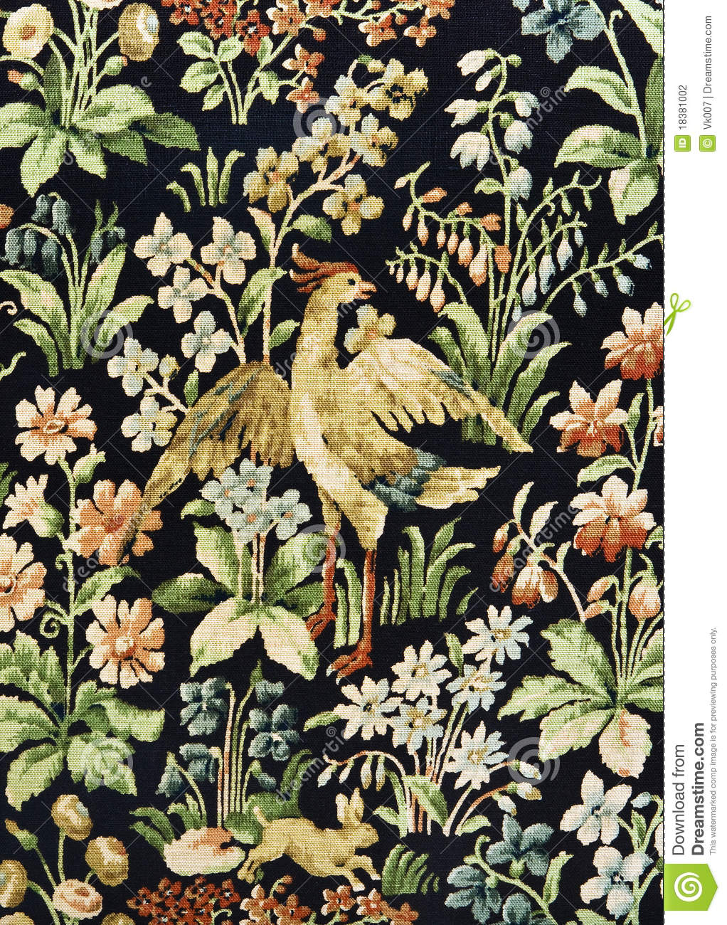 Pattern Of An Ornate Floral Tapestry Stock Photo Image