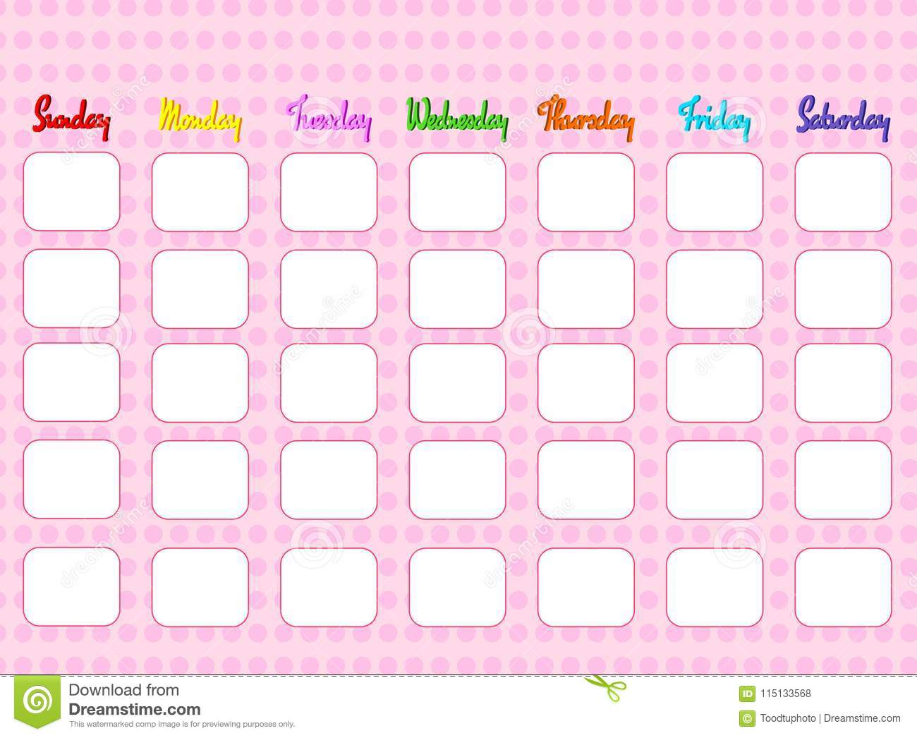 Pattern Pink Calendar With Day Weeklycolorful Template To Take Note